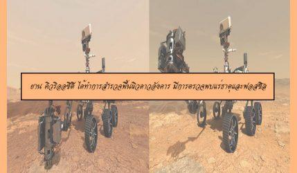 ยาน คิวริออซิตี ได้ทำการสำรวจพื้นผิวดาวอังคาร มีการตรวจพบแร่ธาตุและฟอสซิล